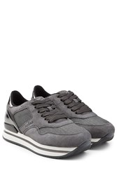 Hogan Suede Leather And Mesh Platform Sneakers Grey