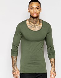 Asos Extreme Muscle Long Sleeve T Shirt With Scoop Neck In Green Green