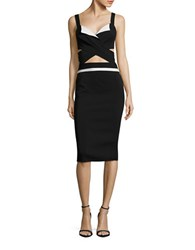 Nicole Bakti Crisscross Bodycon Dress Black