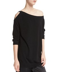 Vince Off The Shoulder Cashmere Cutout Tunic Black