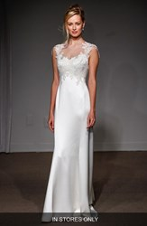 Women's Anna Maier Couture 'Grace' Illusion Neck Lace And Satin A Line Gown In Stores Only