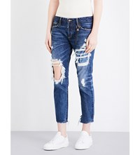 Tortoise Denim Savanna Straight Mid Rise Jeans Dark Indigo Knit Patch
