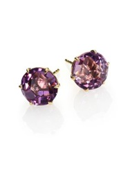 Ippolita Rock Candy Dark Amethyst And 18K Yellow Gold Stud Earrings Gold Purple