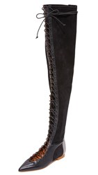 Malone Souliers Montana Over The Knee Flat Boots Black Dark Grey Black