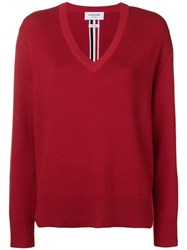 Thom Browne Intarsia Stripe Boxy V Neck Pullover Red