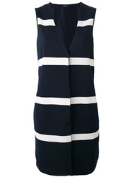 Herno Stripe Panel Sleeveless Jacket Blue