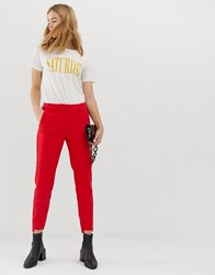 Selected Femme High Waisted Cigarette Trouser With Pleat Detail Red