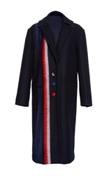 Prabal Gurung Striped Pea Coat Navy