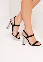 Missguided Glitter Transparent Heel Barely There Sandals Black Black