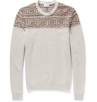 Faconnable Panelled Wool Sweater Neutrals