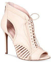 Avec Les Filles Joyce Lace Up Open Toe Pumps Women's Shoes Pink Sand