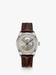Hamilton H32705521 'S Jazzmaster Open Heart Automatic Skeleton Leather Strap Watch Brown Grey