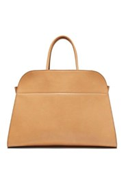 The Row Margaux 15 Medium Leather Tote Bag Beige
