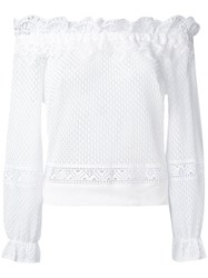 Alberta Ferretti Off Shoulder Lace Blouse Women Cotton 40 White