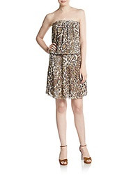 Sweet Pea Strapless Jaguar Print Blouson Dress Soft Leopard