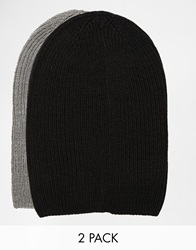 Asos Slouchy Beanie Hat 2 Pack In Black And Grey Save 17 Blackgrey