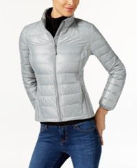 32 Degrees Short Packable Down Puffer Coat Costal Grey Wet Shiny Melange