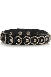 Saint Laurent Silver Tone And Leather Choker