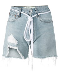 Off White Distressed Denim Shorts Blue
