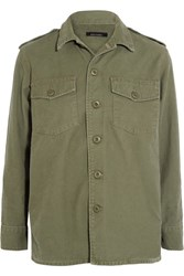Kate Moss For Equipment Major Washed Cotton Canvas Jacket Army Green