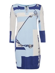 Max Mara Sulmona 3 4 Sleeve Nautical Print Tunic Ultramarine