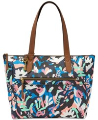 Fossil Fiona East West Medium Tote Painted Floral