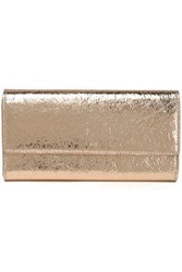 Iro Abel Metallic Cracked Leather Continental Wallet Gold