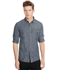 Kenneth Cole Reaction Long Sleeve Chambray Zip Pocket Shirt
