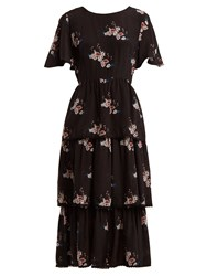 Athena Procopiou Three Tier Floral Print Dress Black Print