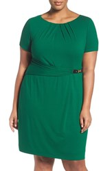Ellen Tracy Plus Size Women's Buckle Sheath Dress Emerald