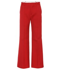 See By Chloe Cotton Blend Wide Leg Pants Red