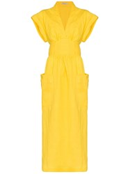 Three Graces Clarissa Belted Wrap Dress Yellow