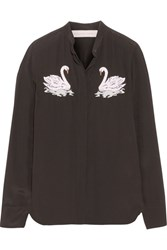 Stella Mccartney Arlo Embroidered Silk Crepe De Chine Shirt Black
