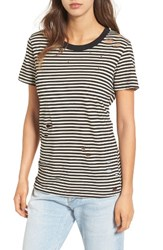 N Philanthropy Women's Fox Distressed Stripe Tee Black White Magic