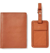 Shinola Leather Passport Cover And Luggage Tag Tan