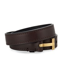 Tom Ford Double Wrap Leather T Buckle Belt Brown Gold
