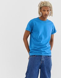 New Look Roll Sleeve T Shirt In Blue