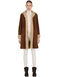 Belstaff Car Suede And Shearling Coat Chestnut