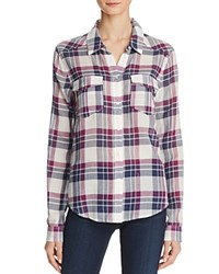 Paige Mya Plaid Shirt White Peacoat Dark Violet