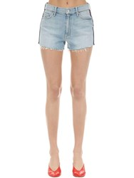 Mother Easy Does It Denim Shorts W Side Bands Blue