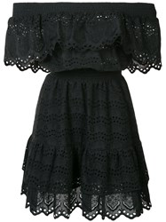 Love Shack Fancy Off The Shoulder Ruffle Eyelet Dress Black