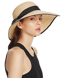 Aqua Raffia Straw Sun Hat With Bow Trim 100 Exclusive Natural Black