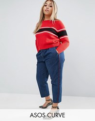 Asos Curve Denim Chino Trousers With Red Side Piping Dark Wash Blue