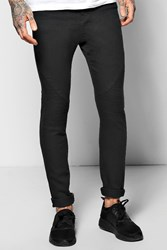 Boohoo Fit Stretch Jeans With Heavy Biker Detail Black