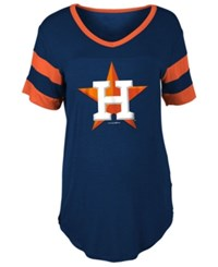 5Th And Ocean Women's Houston Astros Sleeve Stripe Relax T Shirt Navy Orange