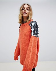 Native Rose Oversized Chunky Knit Jumper With Large Sequin Shoulders Orange