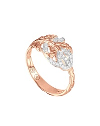 John Hardy Classic Chain Small Feather Rose Gold Ring