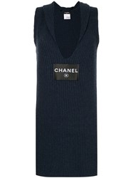 Chanel Vintage Logo Knitted Fitted Dress Blue