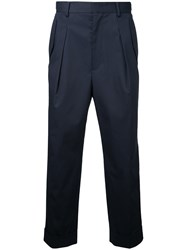 Juun.J Cropped High Waist Trousers Blue