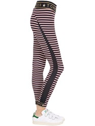 Tommy Hilfiger Collection Striped Logo Microfiber Leggings